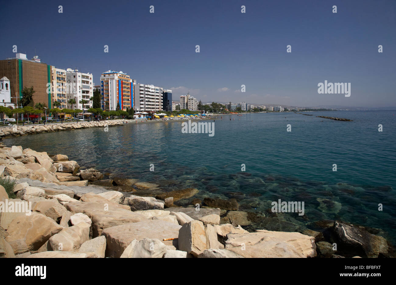 Limassol seafront and breakwater in twin cities park on reclaimed land lemesos republic of cyprus europe - Stock Image
