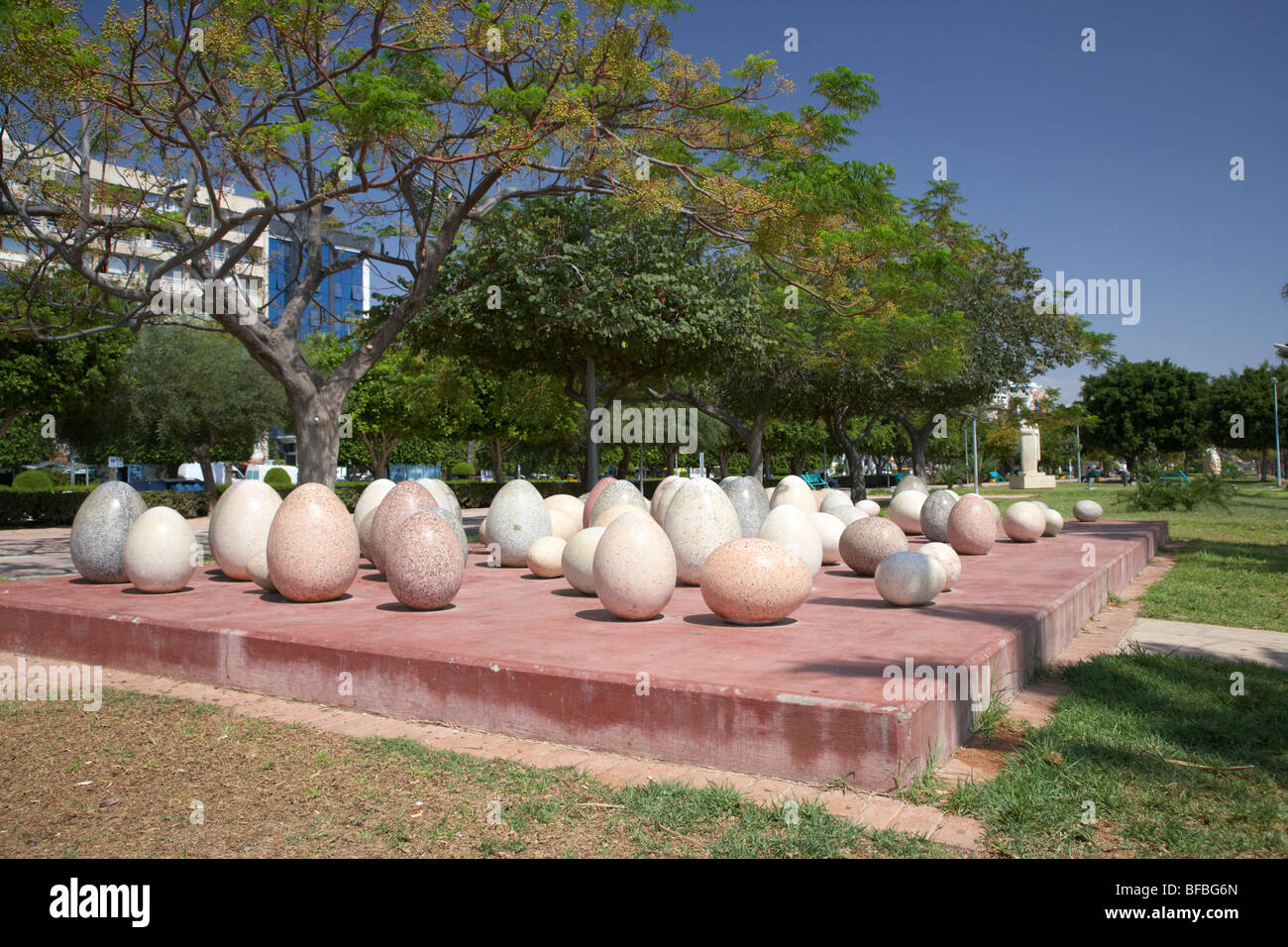 birth sculpture by maria kyprianou in Limassol sculpture park in twin cities park on reclaimed land lemesos republic - Stock Image