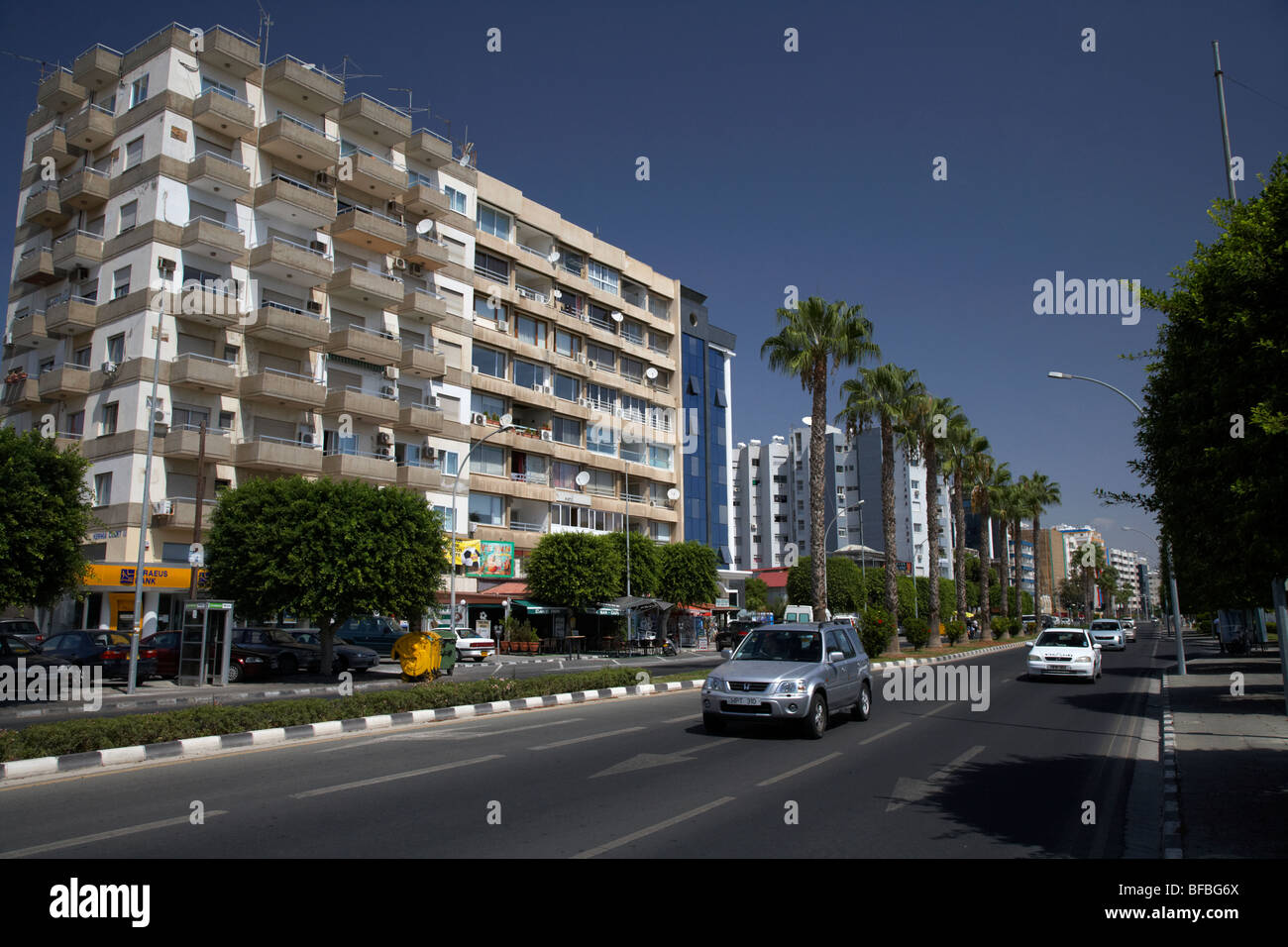 busy dual carriageway main road along the seafront in Limassol lemesos republic of cyprus europe - Stock Image