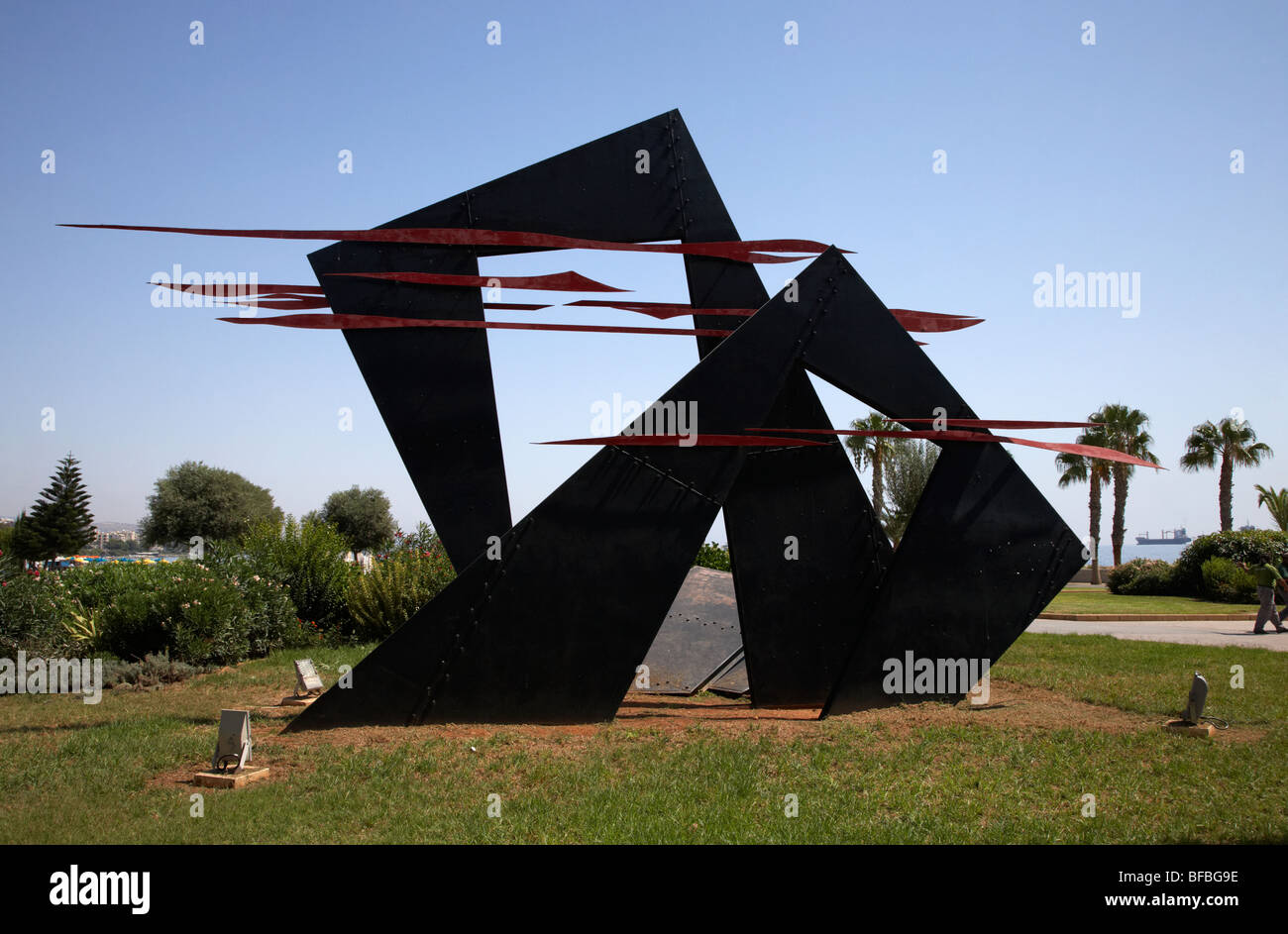 Limassol sculpture park in twin cities park on reclaimed land lemesos republic of cyprus europe - Stock Image