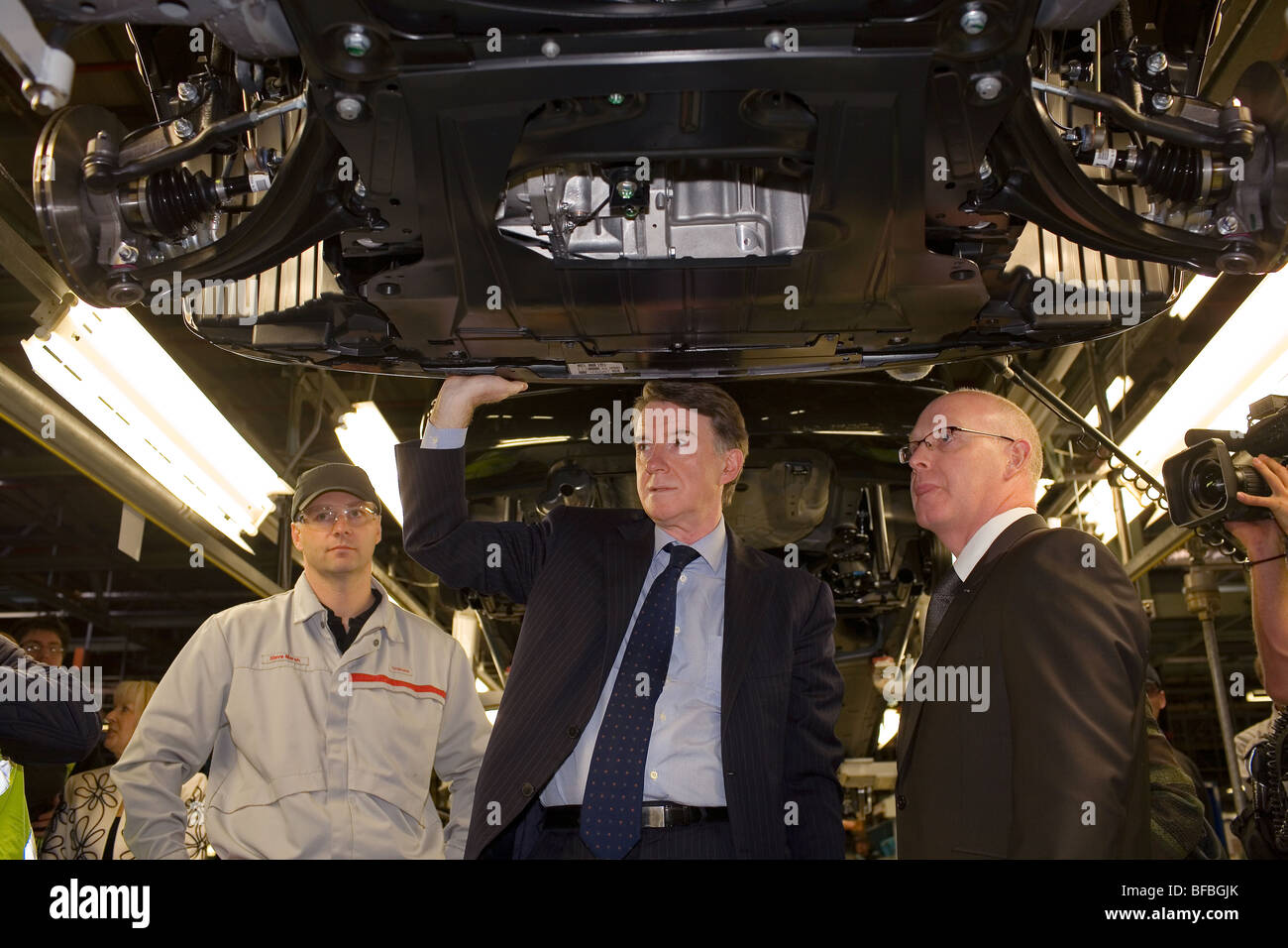 Lord Peter Mandelson on a visit to the Nissan car factory in Sunderland. Stock Photo