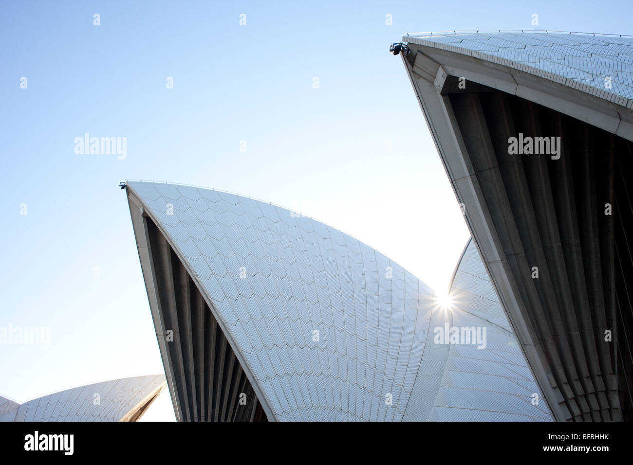 The shells of the Sydney Opera House, one of the world's most famous examples of modernist architecture. - Stock Image