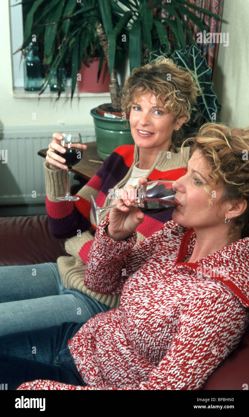 Women drinking alcoholic at home - Stock Image