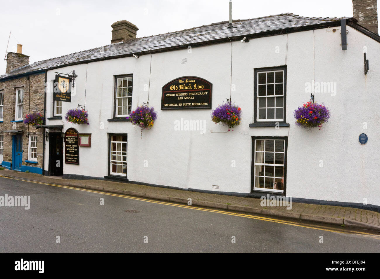 The Old Black Lion inn, Hay on Wye - Stock Image
