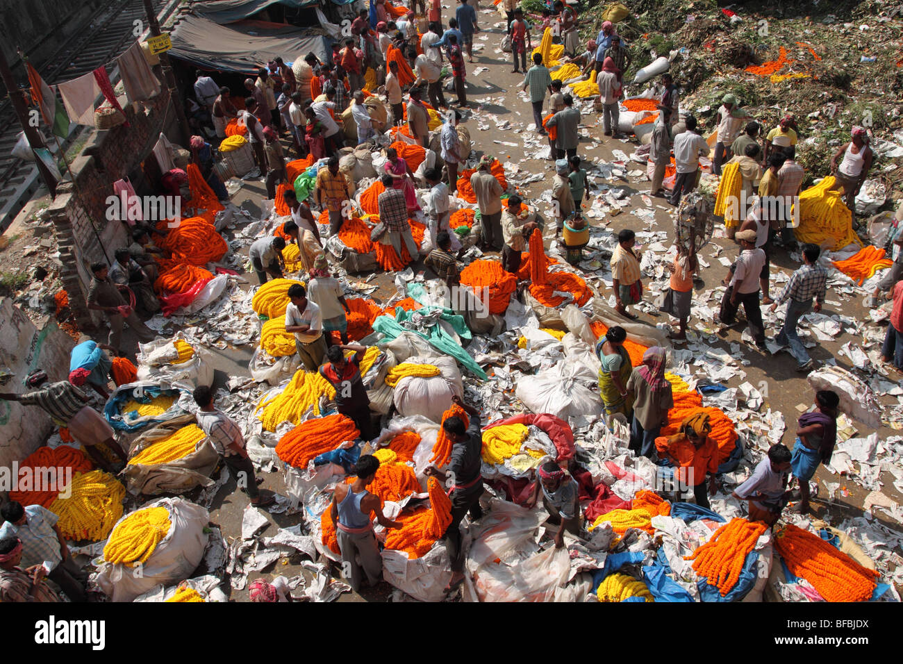 Malik Ghat flower market, Kolkata - Stock Image