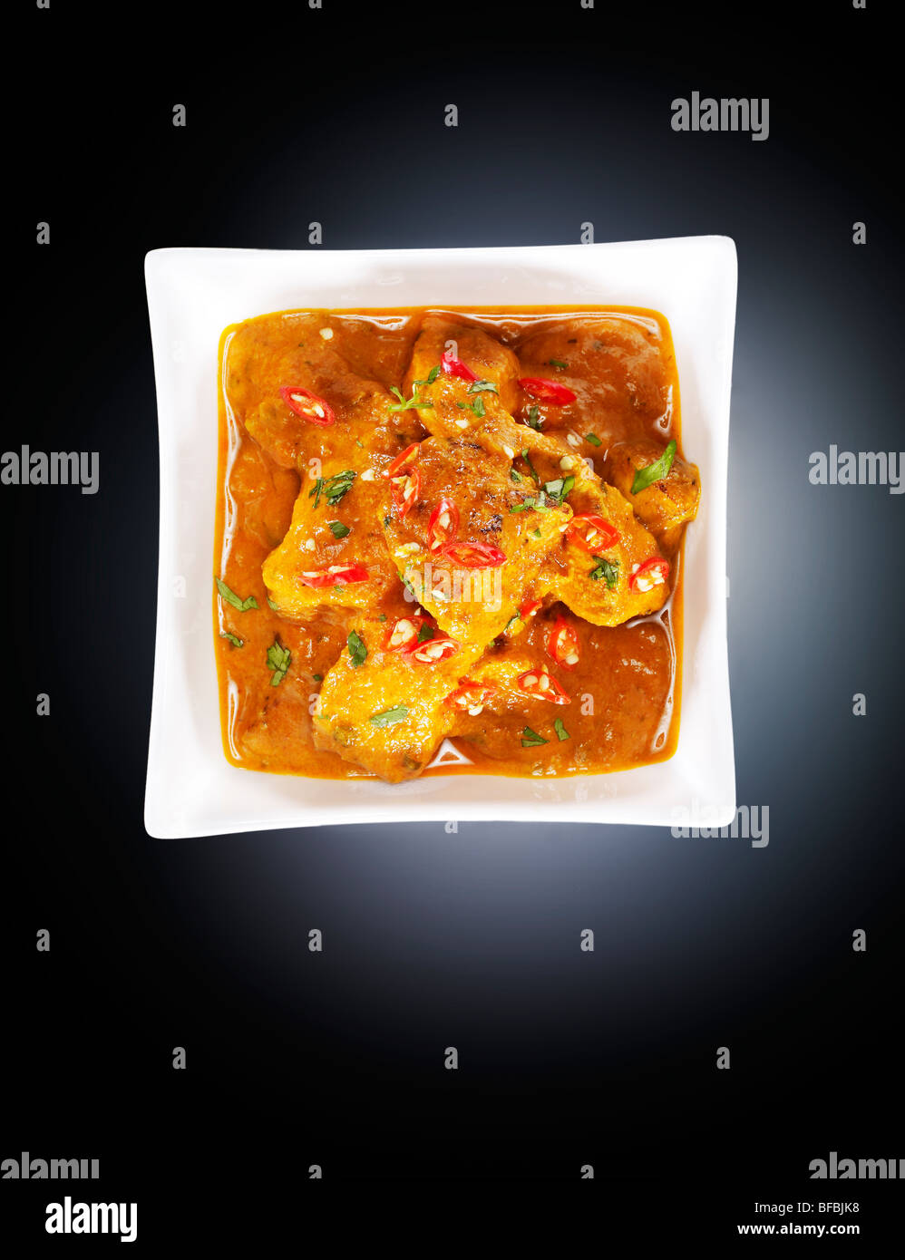 Chicken tikka masala, with tomato cream, butter and red chili - Stock Image
