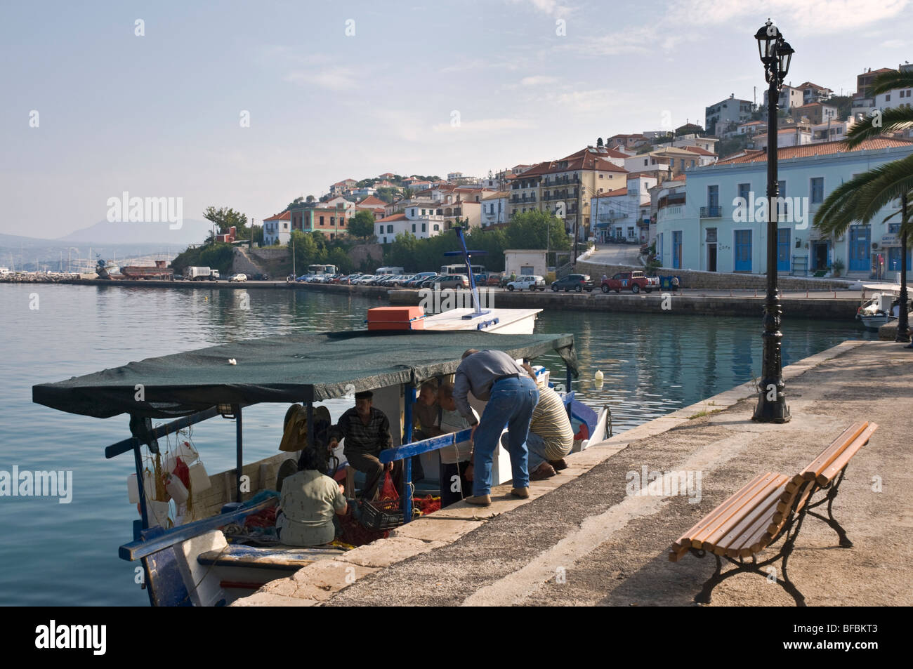 Fishing boats in the harbour at Pylos, Messinia, Southern Peloponnese, Greece - Stock Image