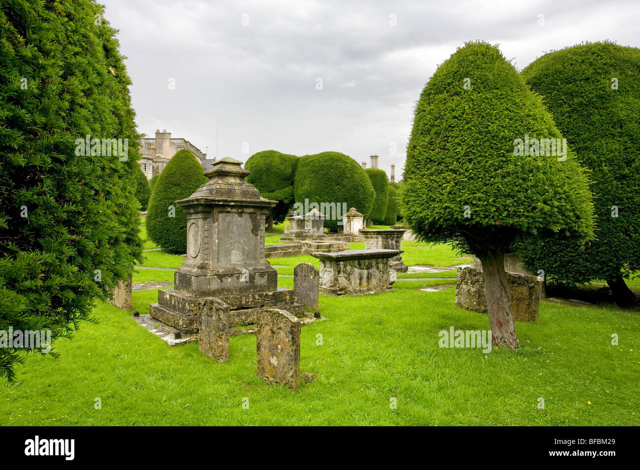 Tombs and yew trees in churchyard of St Mary's Church Painswick - Stock Image