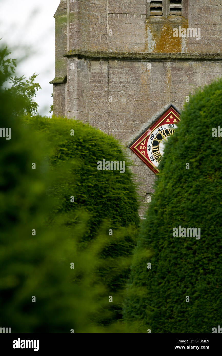 The tower of St Mary's church Painswick, glimpsed between the yew trees of the churchyard. - Stock Image
