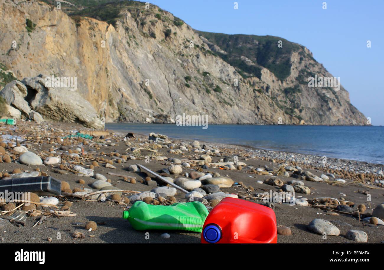 Dirty beach near Kalamaki, Turtle National Marine Park, Zante Greece, 2009 - Stock Image