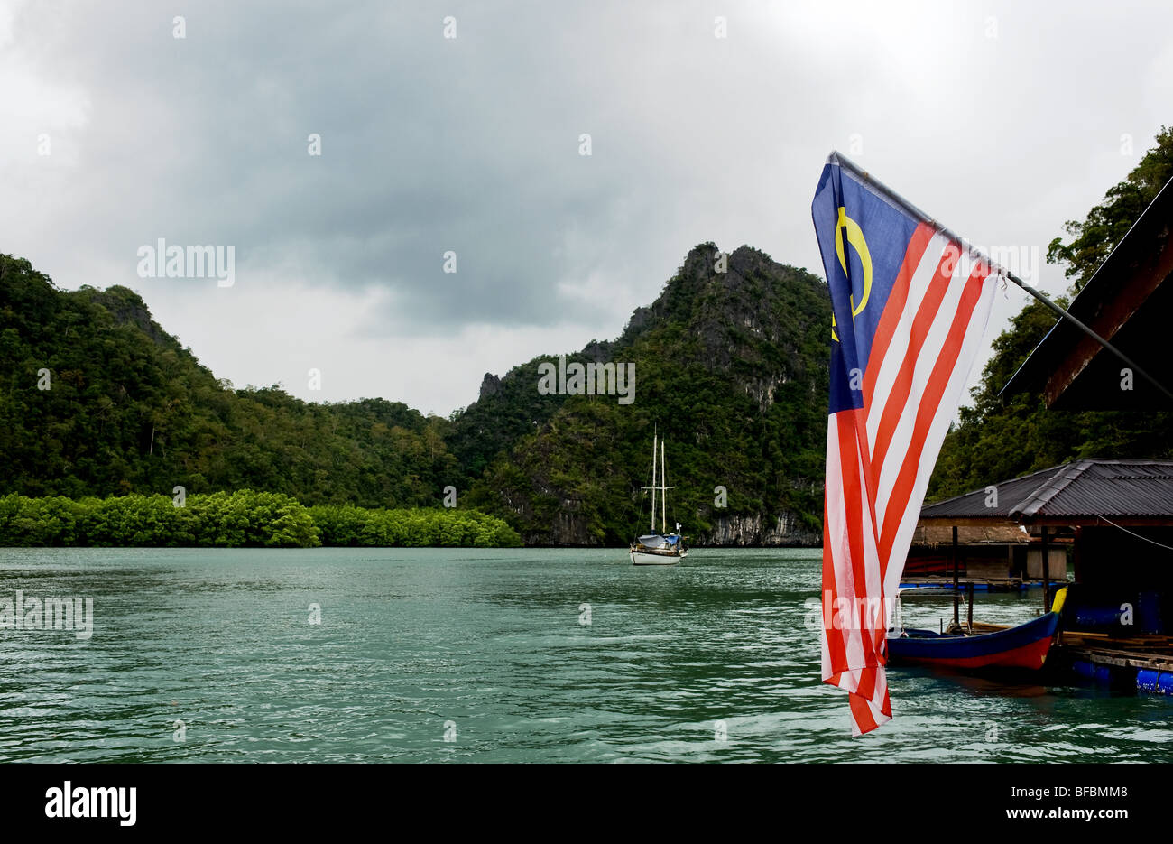 The Malaysian national flag flying in the Kilim Geoforest area of Langkawi, Malaysia.  Photo by Gordon Scammell - Stock Image