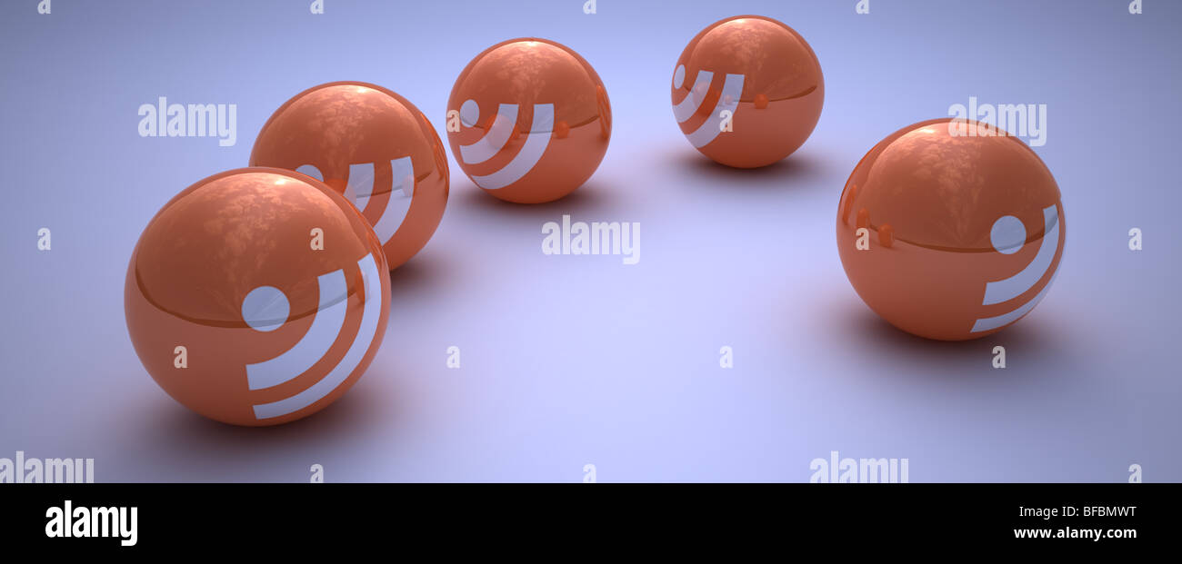 CG rendered image of RSS logo on balls - Stock Image