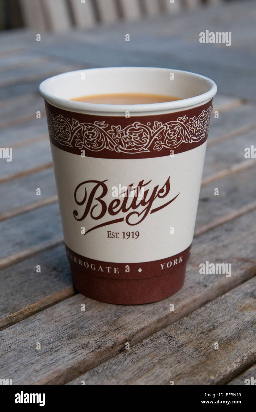 Betty's tearooms. Takeaway tea in a paper cup. - Stock Image