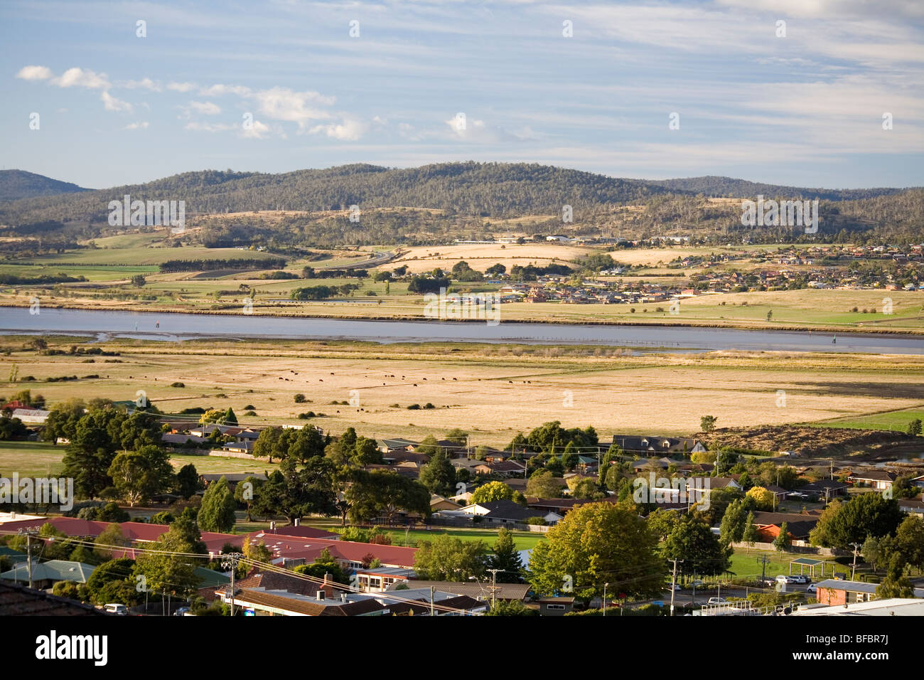 View over the Tamar River and valley Stock Photo