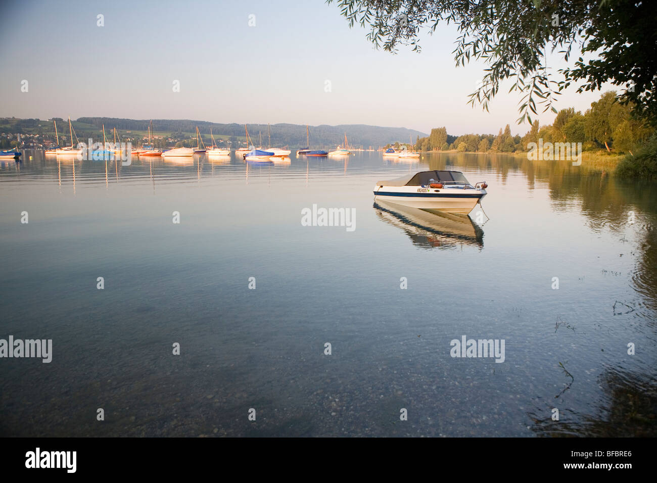 Boats at sunset on Lake Constance (Bodensee) Stock Photo