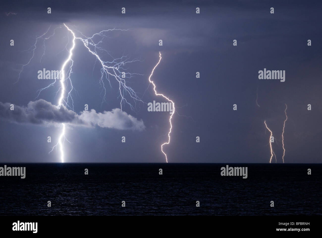 storm on the Mediterranean Sea in Italy Stock Photo