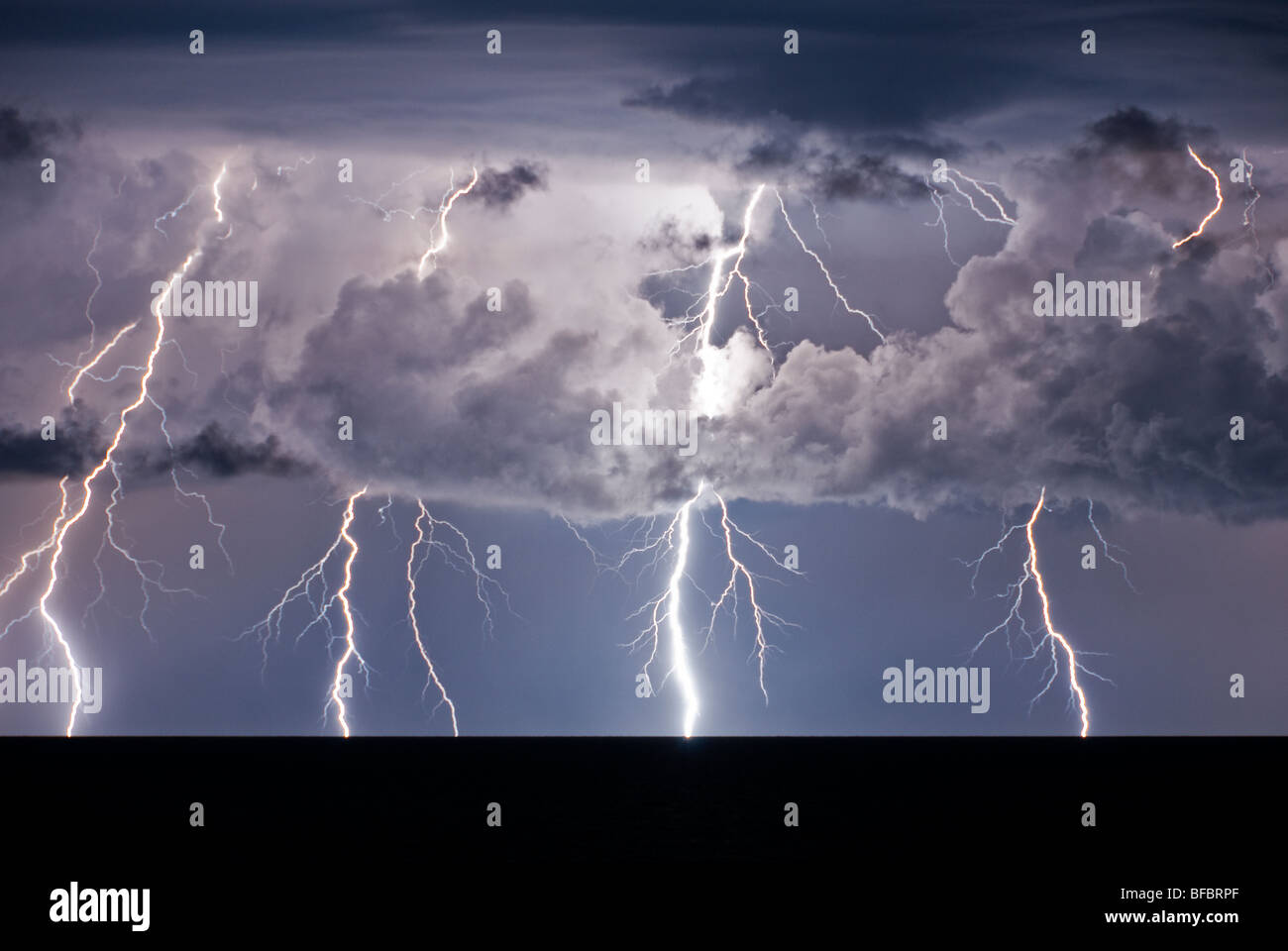 storm on the Mediterranean Sea in Italy - Stock Image