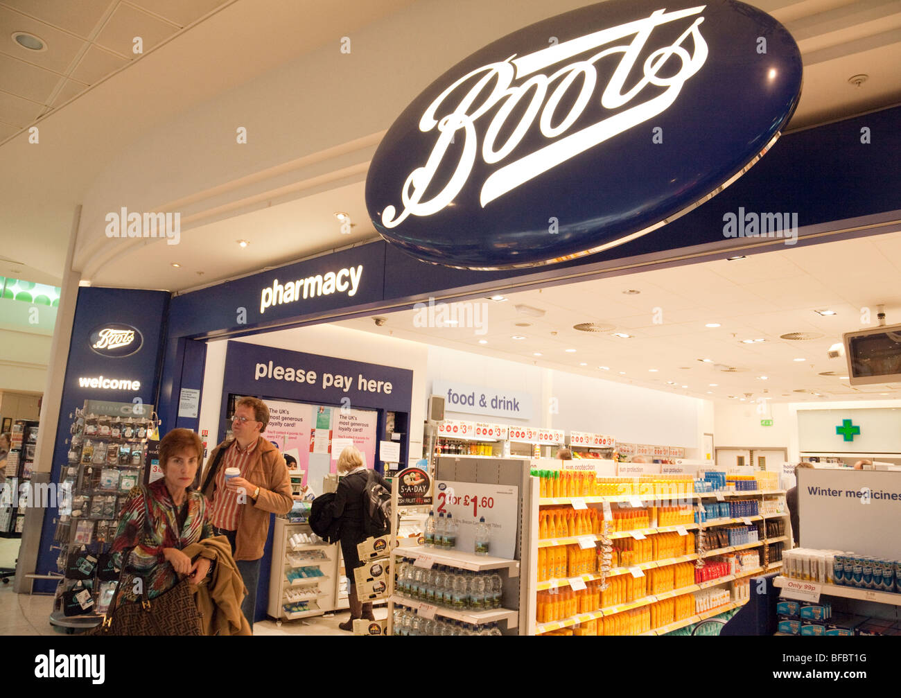 Boots the Chemist store in departures; terminal one, Heathrow airport, London UK - Stock Image
