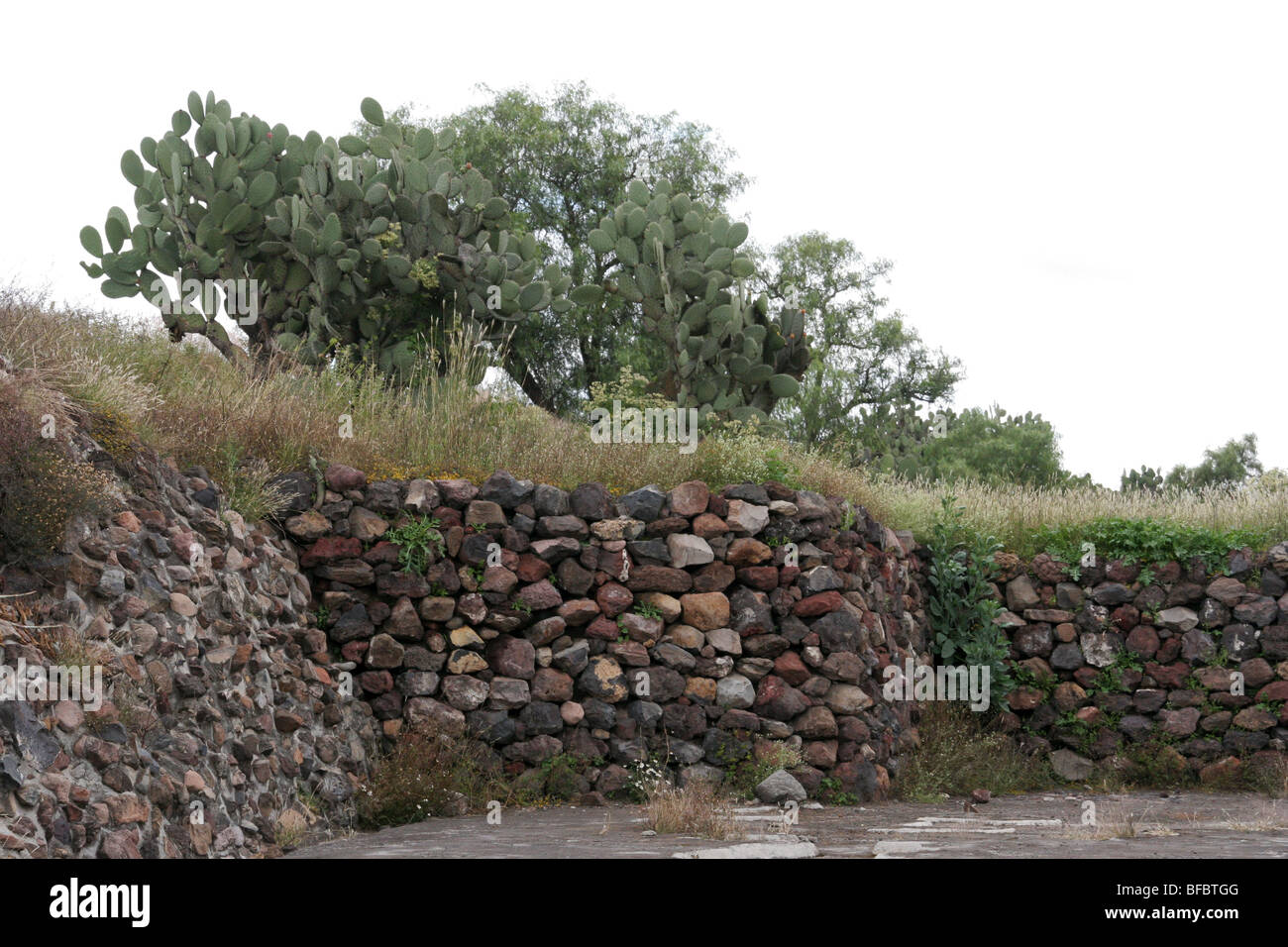 Ancient walls in Teotihuacan, Mexico. - Stock Image