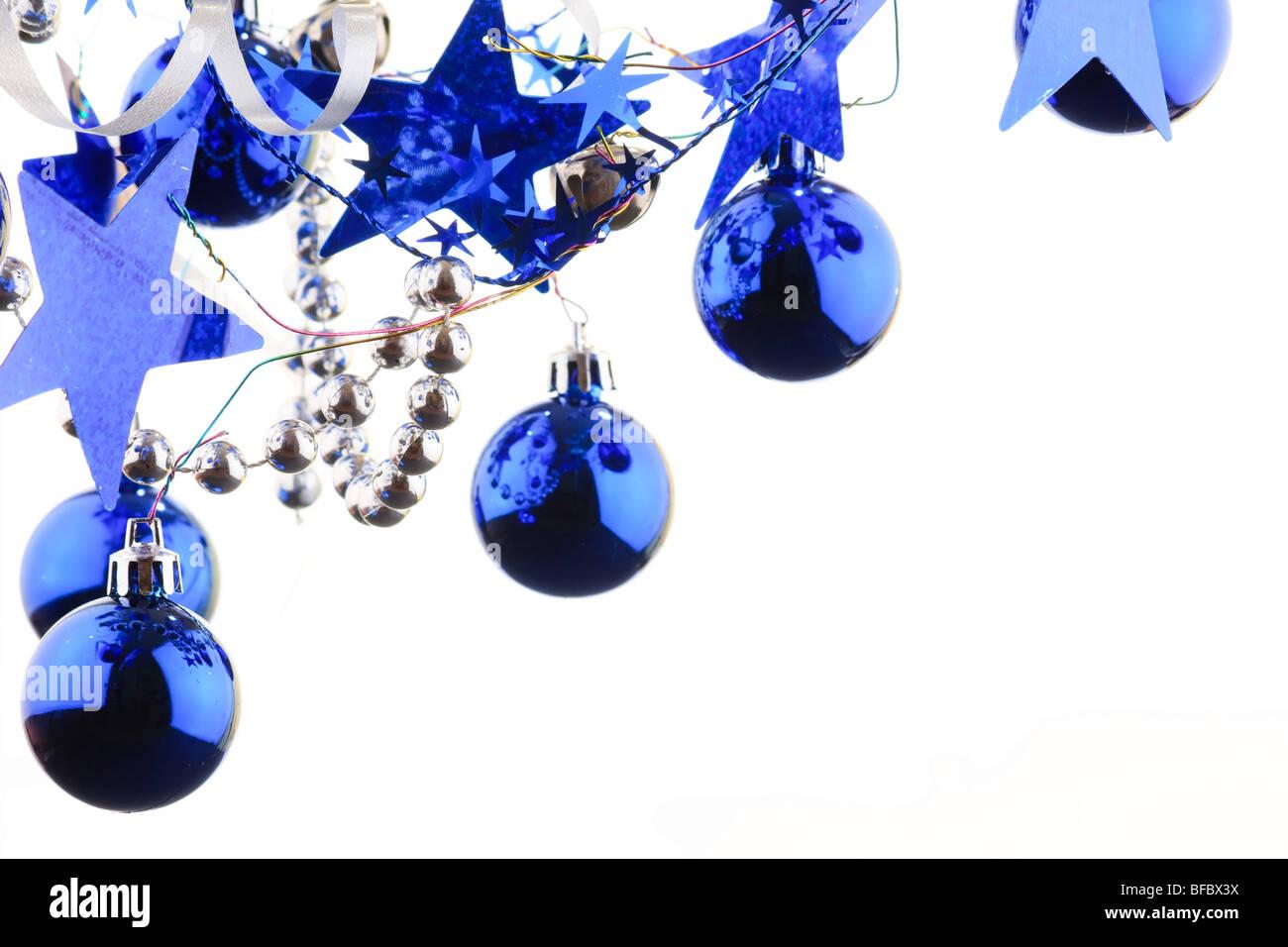 Christmas blue balls - Stock Image