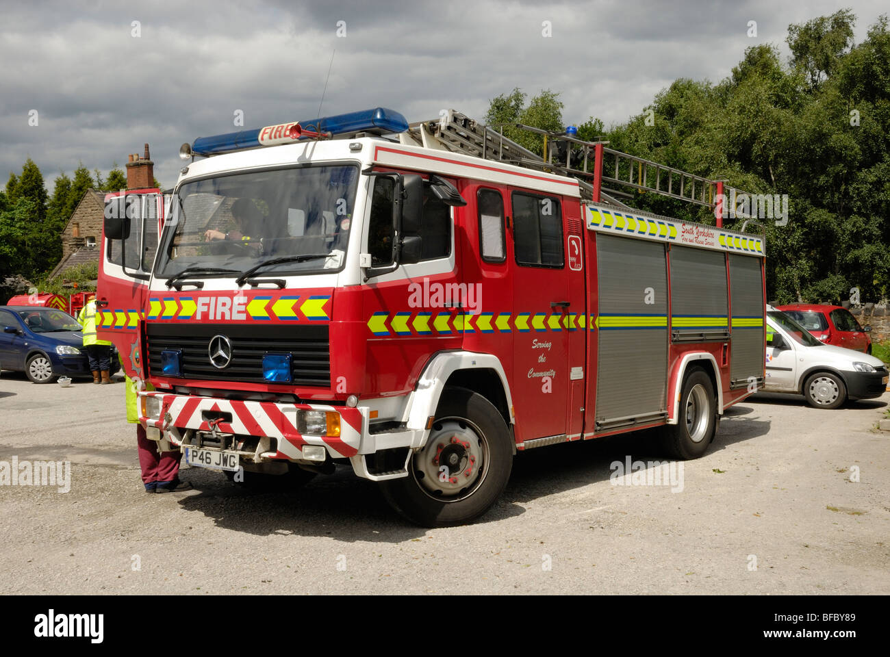 Fire U0026 Rescue Service South Yorkshire Mercedes Fire Engine   Stock Image