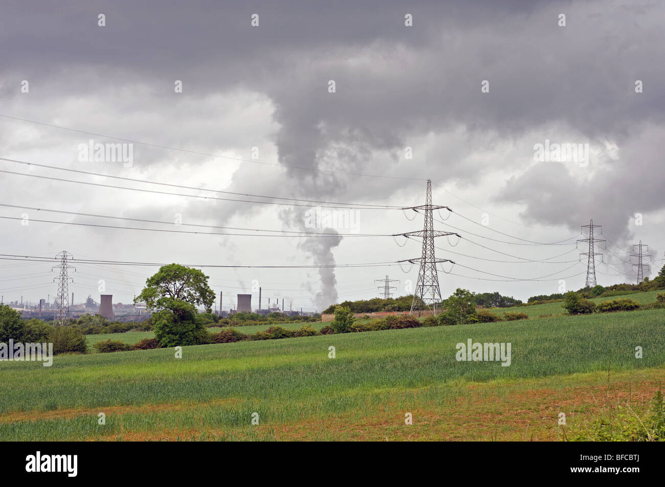 Smoke rising up from heavy industry, Middlesbrough, Cleveland, North East England. - Stock Image