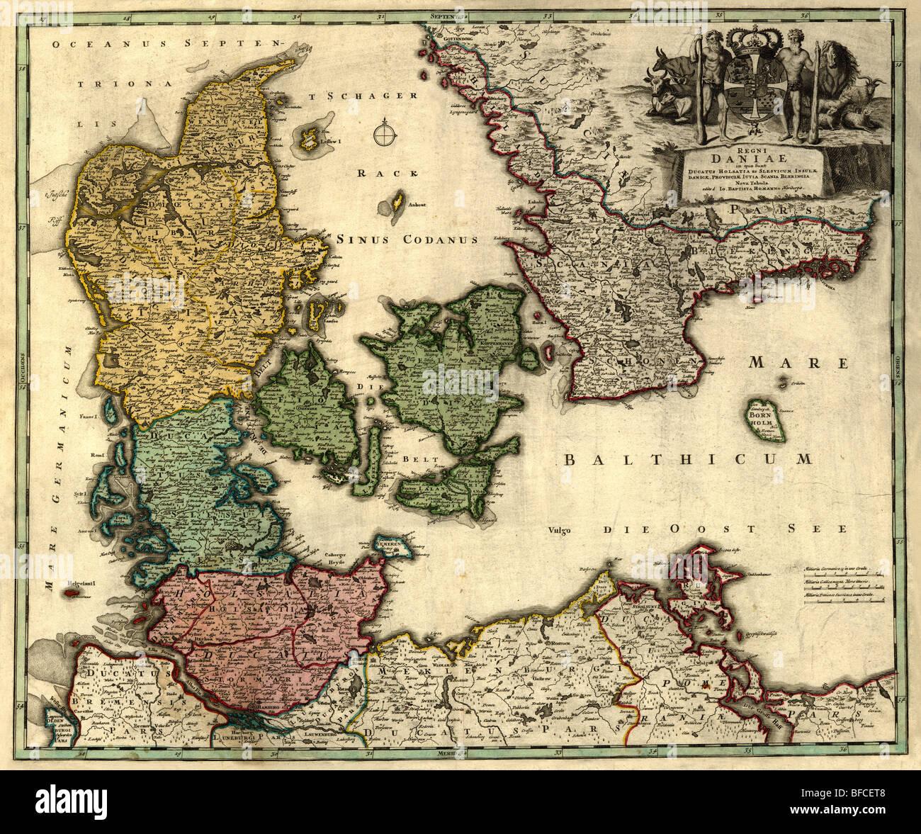 Old map of Denmark (18 centuries, Latin language). - Stock Image