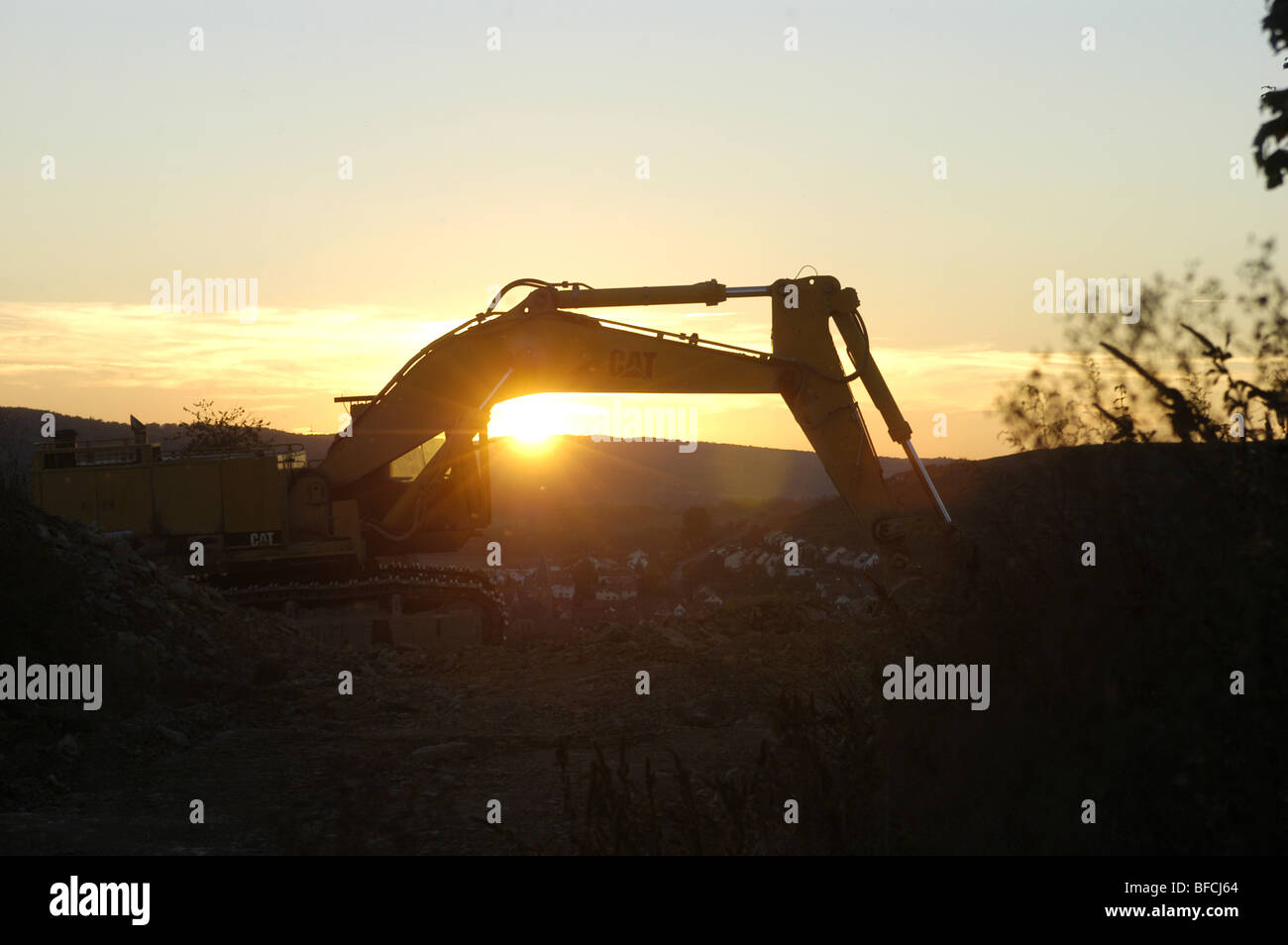 Construction site in the evening sun - Stock Image