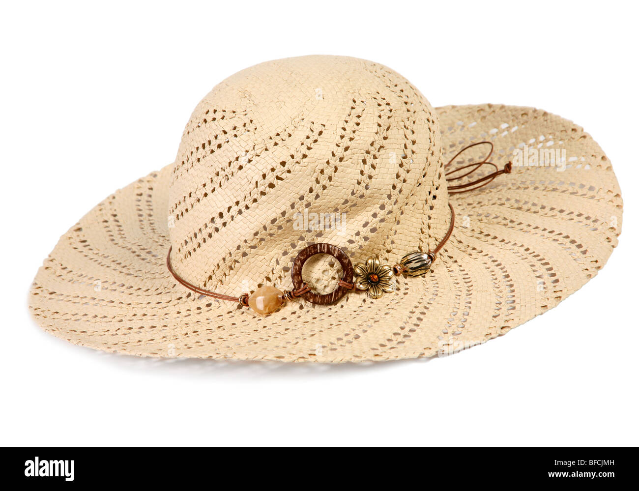 Summer woman hat accessory on white background - Stock Image