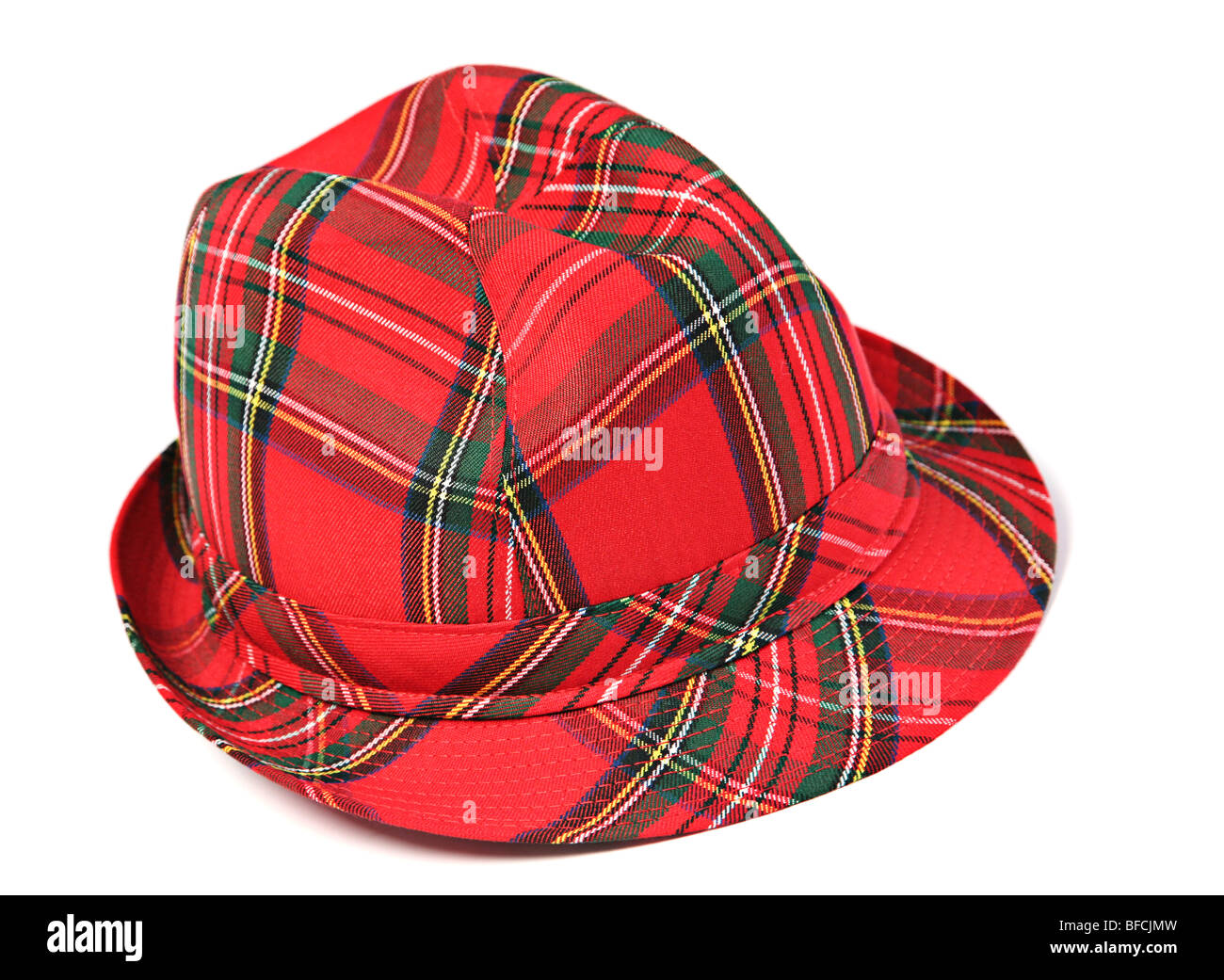 Red woman hat accessory on white background - Stock Image