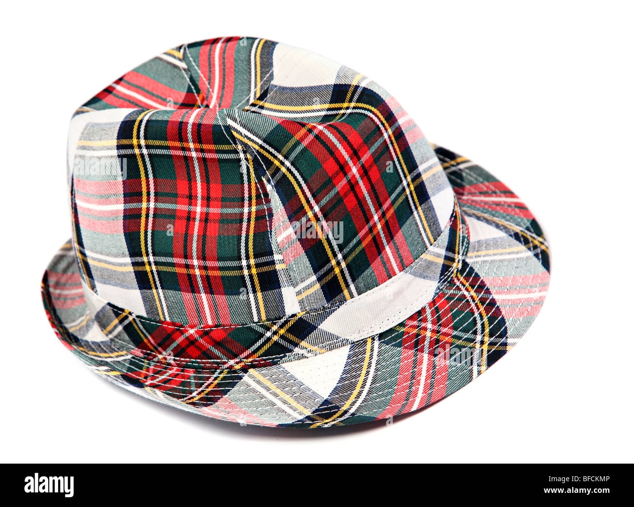 Color woman hat accessory on white background - Stock Image