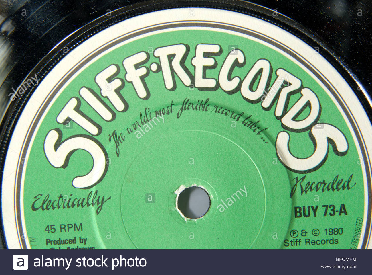 Label of an Stiff records 45 rpm record. - Stock Image