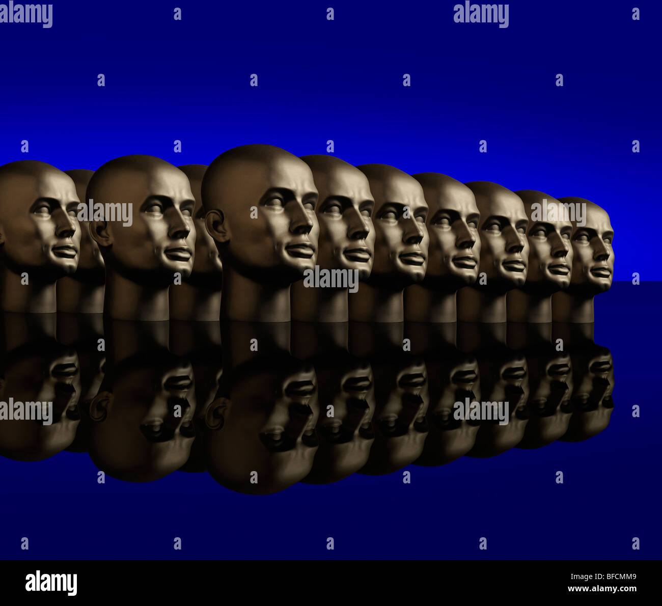 Metallic android mannequin heads lined up in several rows on a reflective black surface with a blue background - Stock Image