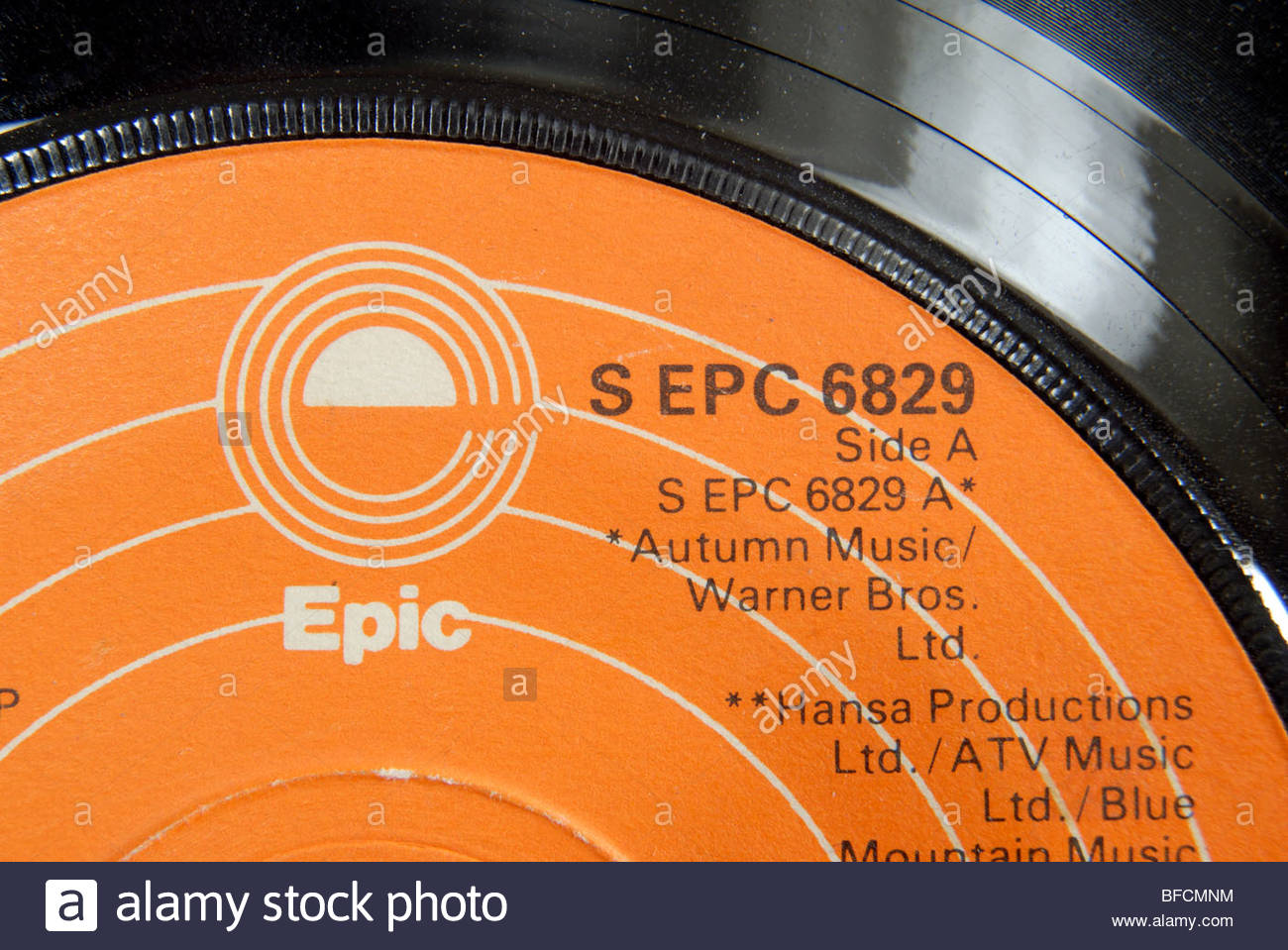 Label of an Epic records 45 rpm record. - Stock Image