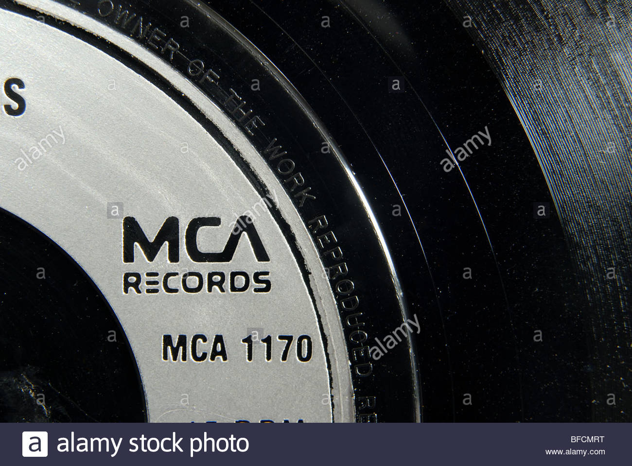 Label of an MCA records 45 rpm record. Stock Photo