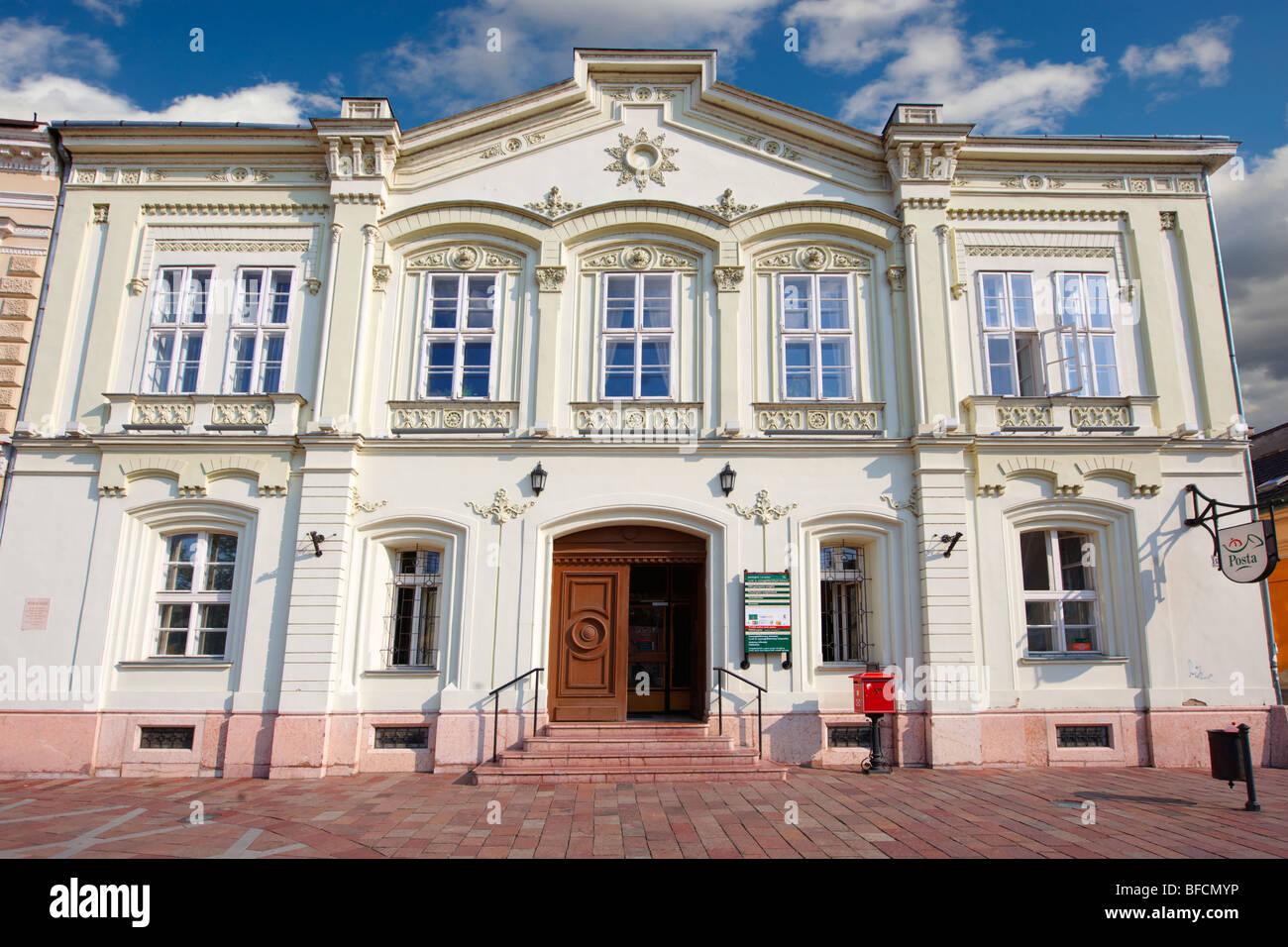 Post Office - Bischitzky - Muller Haz - 1863 Romantic style building. Esztergom, Hungary - Stock Image