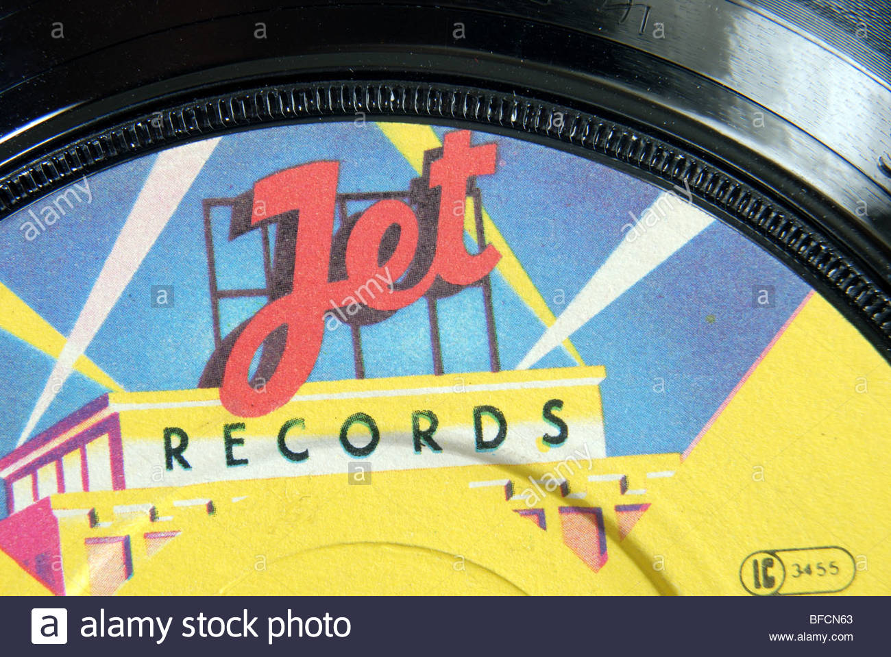 Label of a  Jet records 45 rpm record. - Stock Image