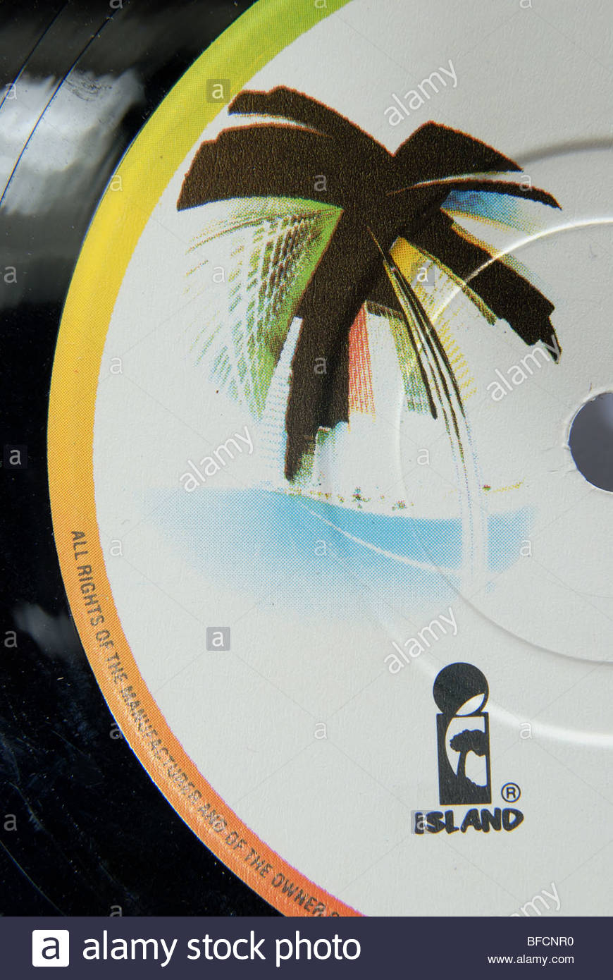 Label of an Island records 45 rpm record. - Stock Image