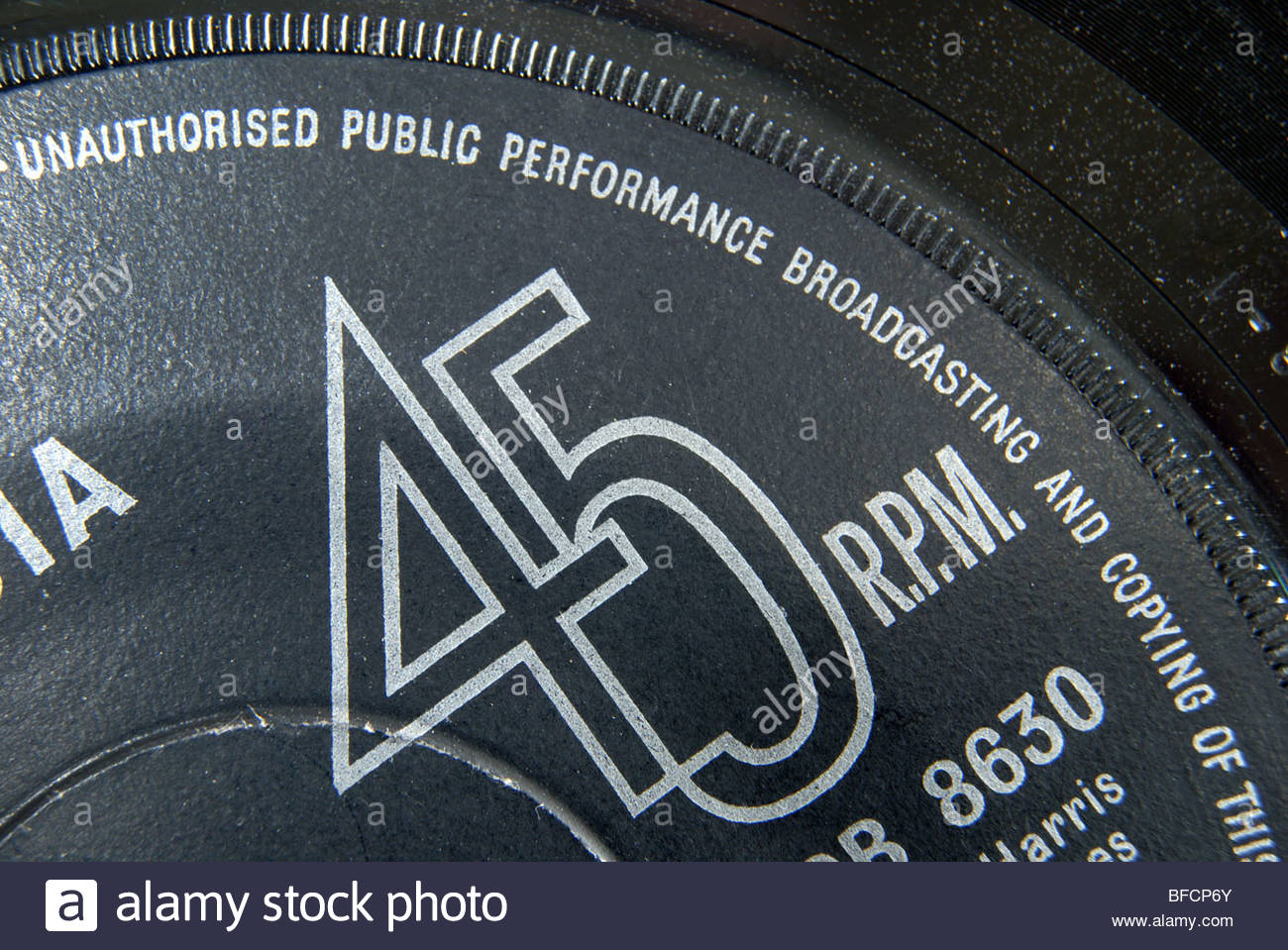Label of a 45 rpm single record. - Stock Image