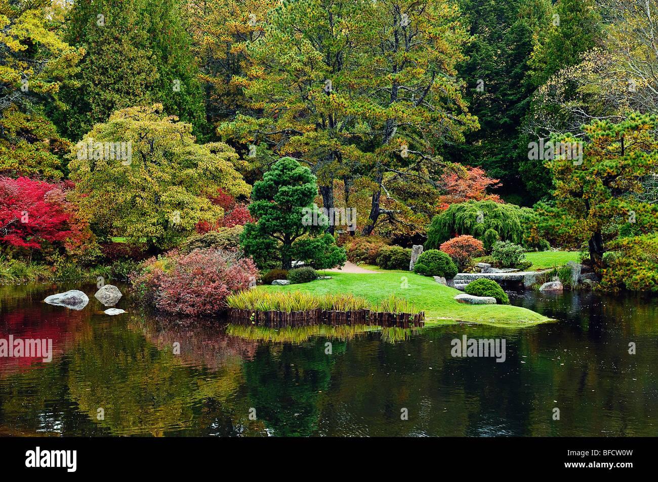 Asticou Gardens in autumn, Southwest Harbor, Mount Desert Island, Maine, USA Stock Photo