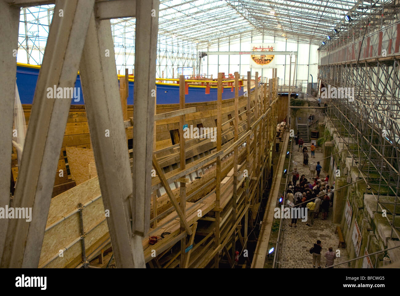 Under construction In Rochefort: 'L'Hermione', a replica of the frigate Lafayette sailed in 1780 to - Stock Image