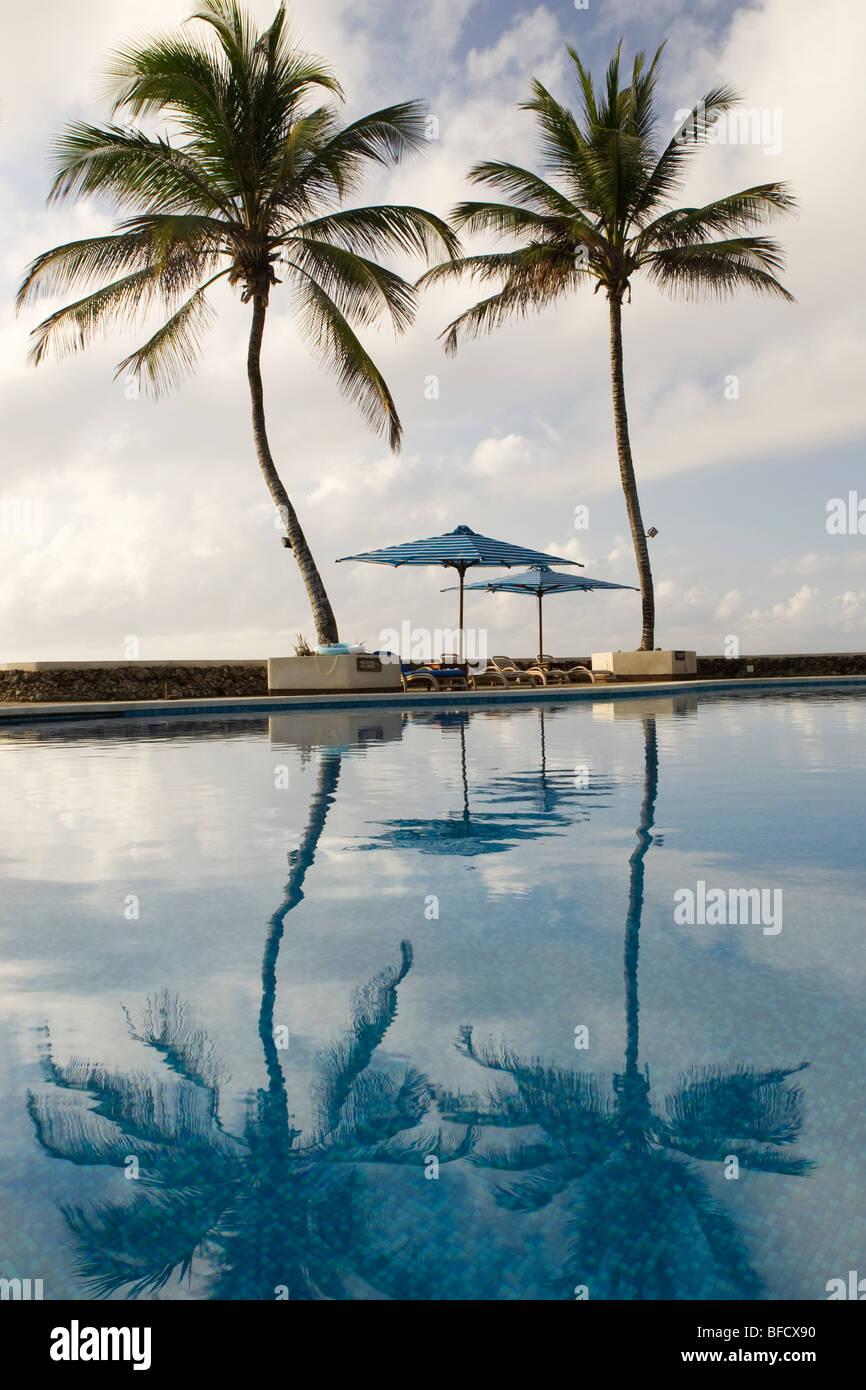 Pool area reflections at Hemingways Resort - Watamu, Kenya - Stock Image