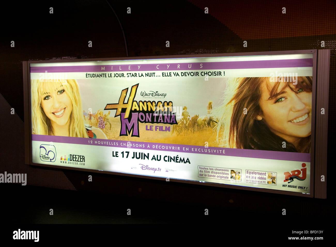 Hannah Montana movie advertisement in the Paris Metro underground, Paris, France. - Stock Image