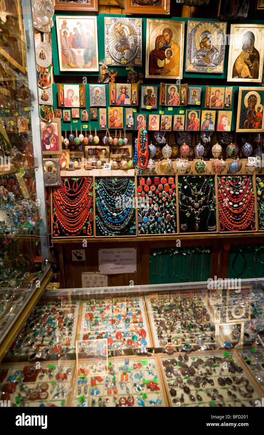 Shop display of jewellery / gifts / souvenir stall in the Sukiennice