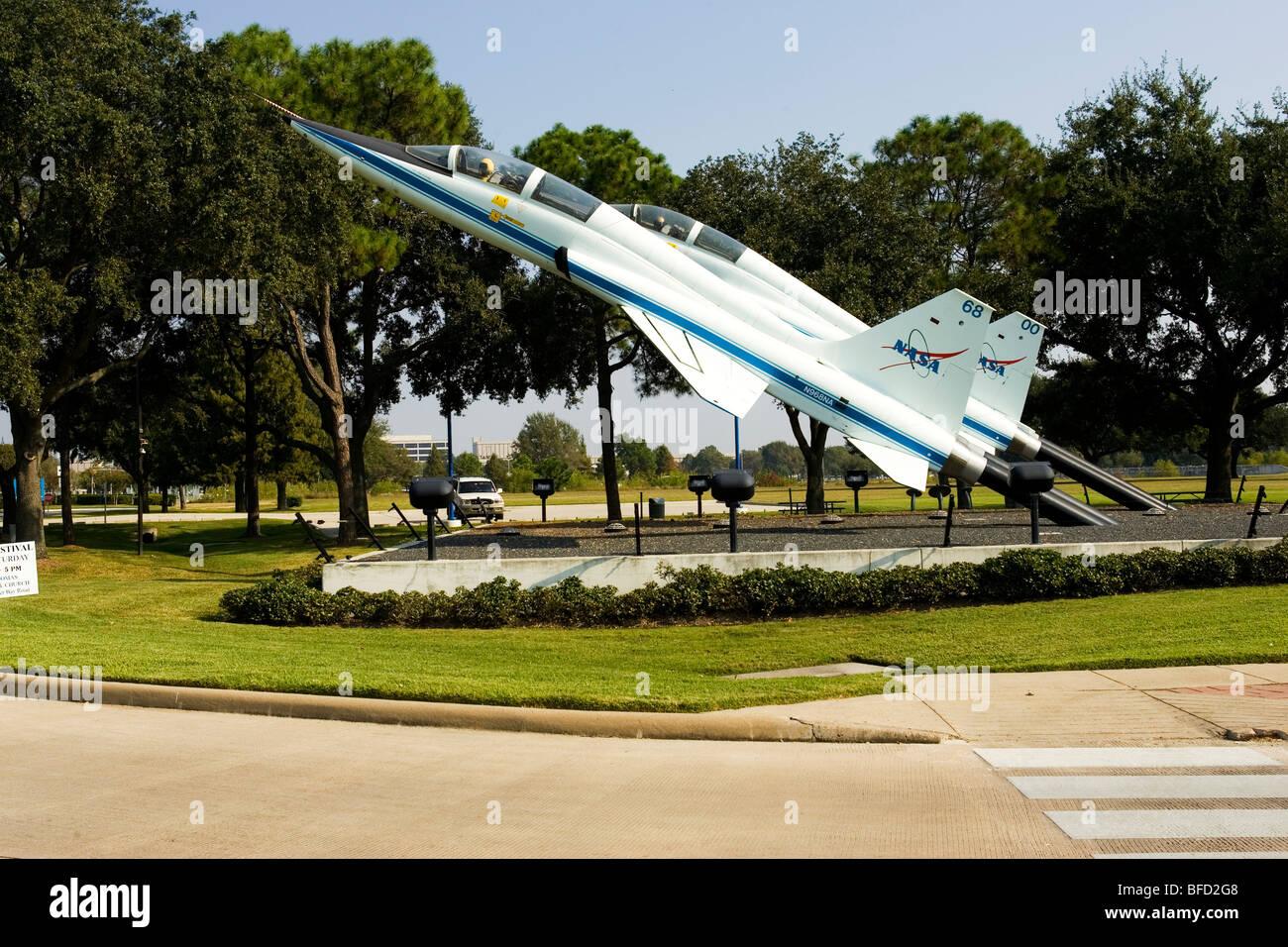 T-38 display at the NASA entrance, Houston, TX - Stock Image