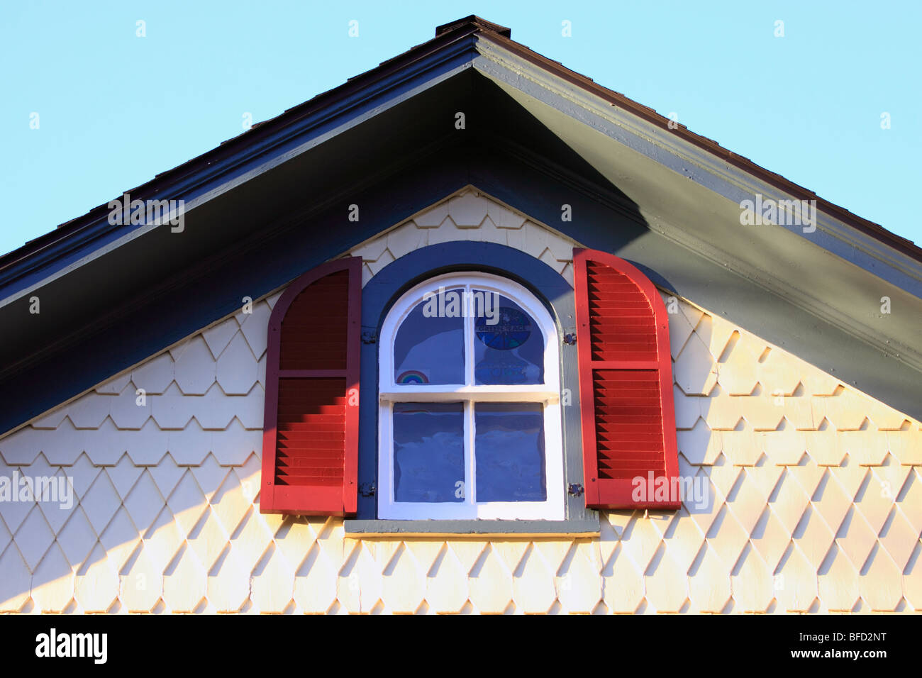 Attic Window In Victorian House Long Island Ny Stock