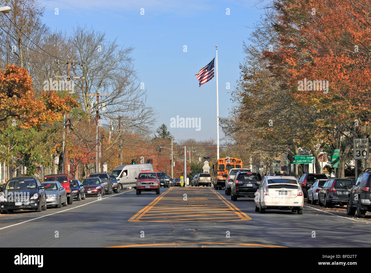 Main St. (Montauk Highway) Bridgehampton, Long Island, NY - Stock Image