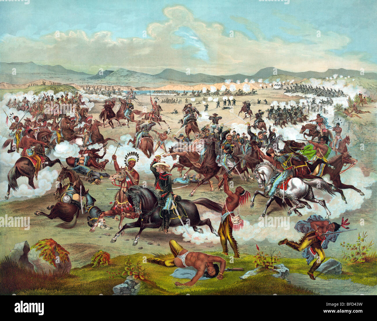 Print depicting Custer's Last Stand with the US 7th Cavalry at the Battle of the Little Bighorn in 1876. Stock Photo