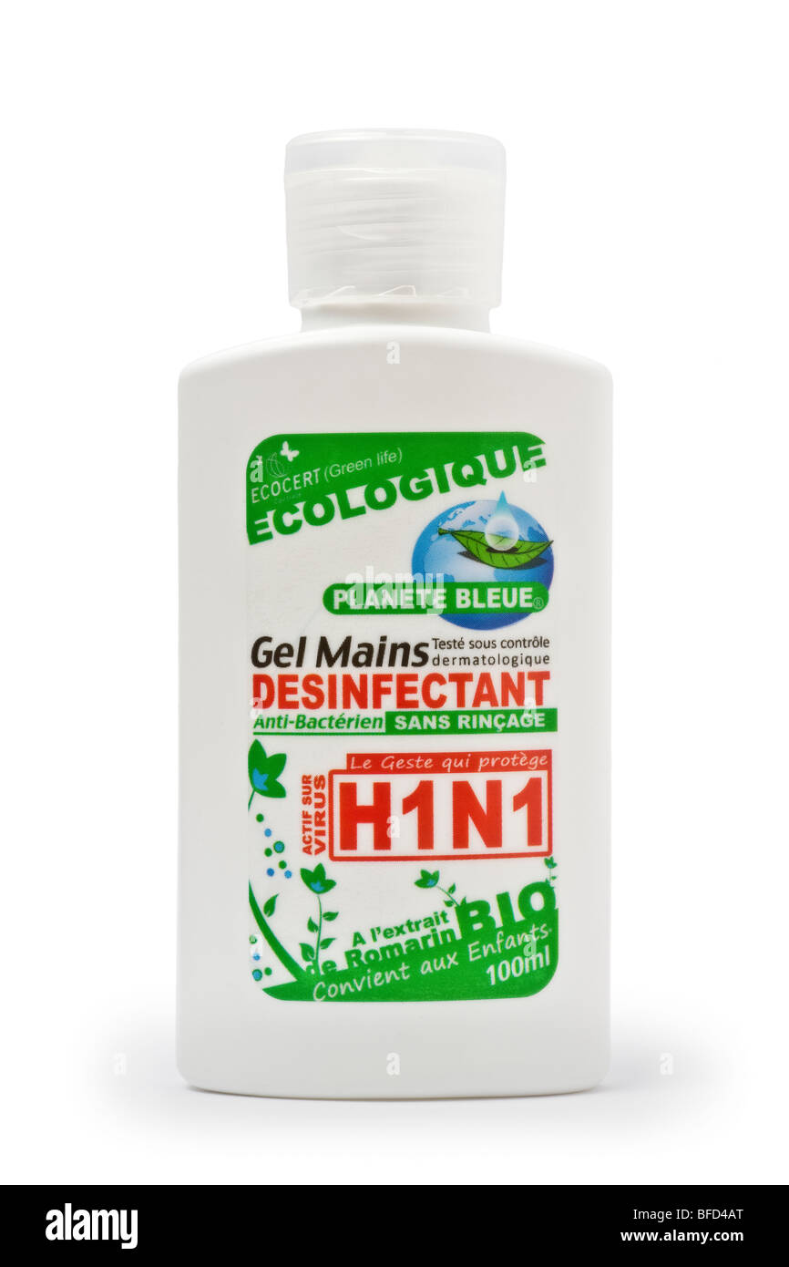 A disinfectant gel bottle for hands, active against A Flu disease. Flacon de gel désinfectant actif contre - Stock Image