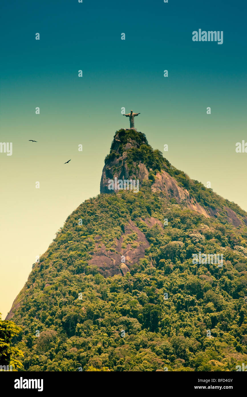 Corcovado and Jesus the Redeemer in Rio De Janeiro Brazil - Stock Image